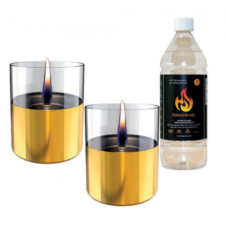 Tenderflame Gift Set, 2 Tabletop burners + 0,7 L fuel, Lilly 10 cm Gold