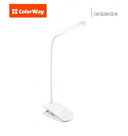 ColorWay LED Table Lamp Flexible & Clip with built-in battery White, Table lamp, 3 h, 5 V, 0.5 Ah