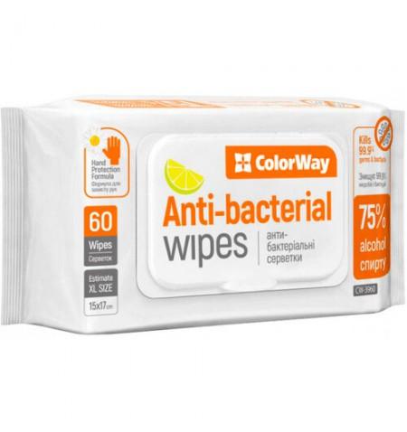 ColorWay Antiseptic Wet Wipes CW-3960 Wet, 15 x 17 cm, 60 pc(s)