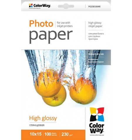 ColorWay High Glossy Photo Paper, 100 sheets, 10x15, 230 g/m