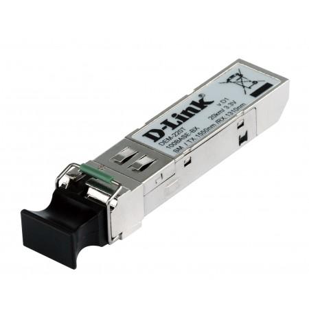 D-Link DEM-220T SFP, Single-Mode Fiber, Single LC, 10/100 Mbit/s, Wavelength 1550/1310 nm, Maximum transfer distance 20000 m