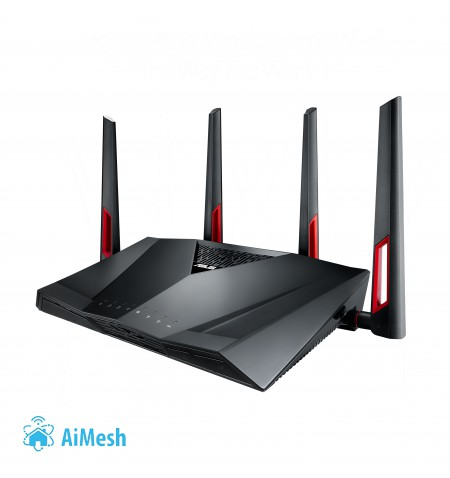 Asus Router RT-AC88U 802.11ac, 1000+2167 Mbit/s, 10/100/1000 Mbit/s, Ethernet LAN (RJ-45) ports 8, Mesh Support Yes, MU-MiMO Yes