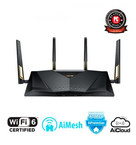 Asus Router RT-AX88U 802.11ax, 1148+4804 Mbit/s, 10/100/1000 Mbit/s, Ethernet LAN (RJ-45) ports 8, Mesh Support Yes, MU-MiMO Yes