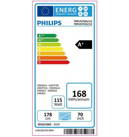 "Philips 70PUS7555/12 70"" (178 cm), Smart TV, Saphi, 4K UHD, 3840 x 2160, Wi-Fi, DVB-T/T2/T2-HD/C/S/S2, Silver"