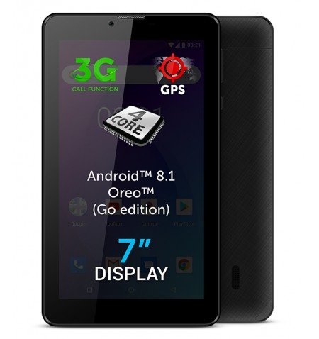 "Allview AX503 7 "", Black, LCD, 1024 600 pixels, Cortex-A7 Quad-Core, 1.3 GB, 8 GB, 3G, Wi-Fi, Front camera, 2 MP, Bluetooth, 4.0"