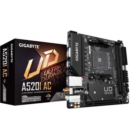 Gigabyte A520I AC Processor family AMD, Processor socket AM4, DDR4 DIMM, Memory slots 2, Number of SATA connectors 4 x SATA 6Gb/