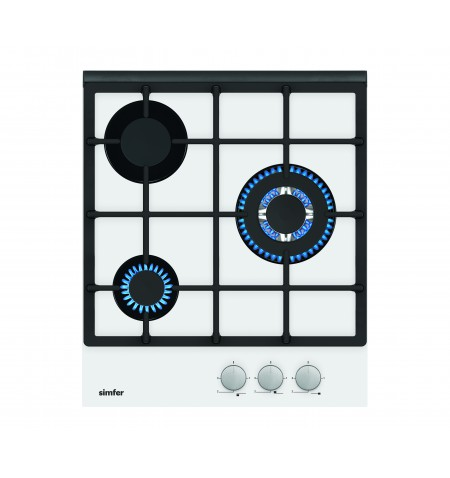 Simfer Hob H4.305.HGSBB Gas on glass, Number of burners/cooking zones 3, Rotary painted inox knobs, White