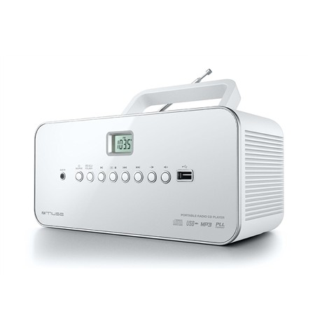 Muse M-28RDW White, Portable radio CD/MP3 Player with USB