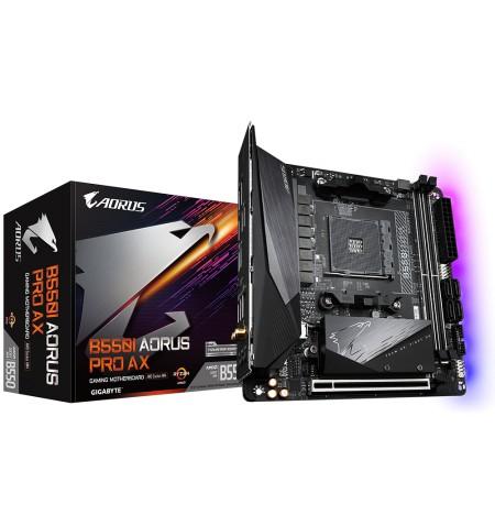Gigabyte B550I AORUS PRO AX 1.0 Processor family AMD, Processor socket AM4, DDR4 DIMM, Memory slots 2, Chipset AMD B, Mini ITX