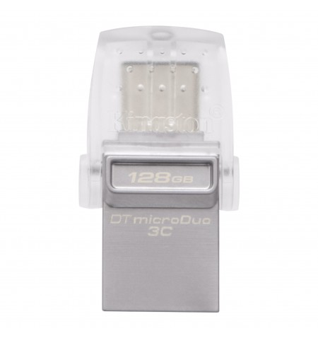 Kingston DataTraveler microDuo 3C 128 GB, USB 3.1, Transparent/Metal