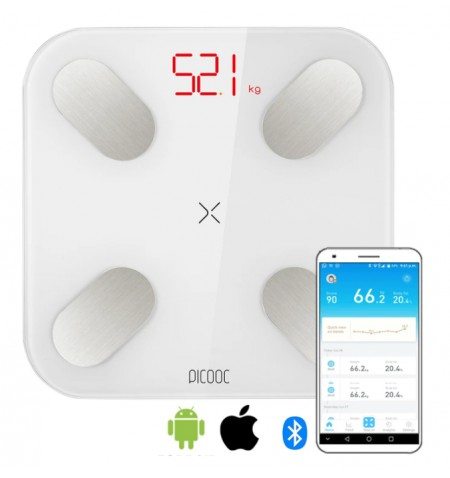 PICOOC Smart Digital scale Mini V2 Maximum weight (capacity) 150 kg, Body Mass Index (BMI) measuring, White