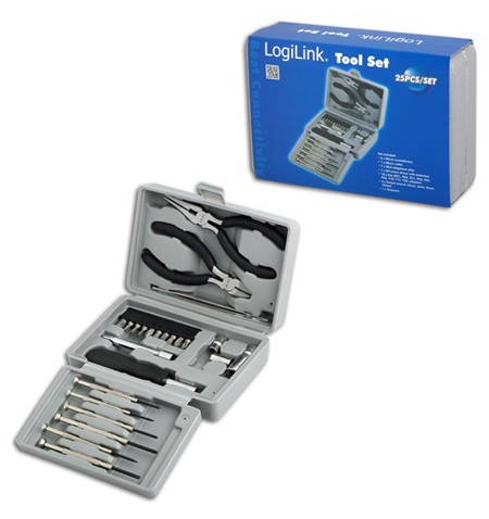 Logilink Tool Set, 25pcs Incl. transport boxThe set includes6x micro screwdrivers1x micro cutter1x mini telephone plier1x bit sc