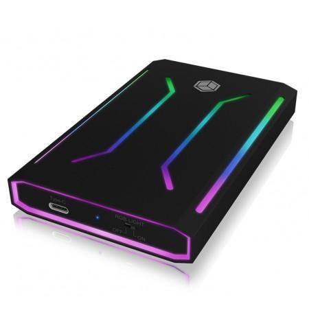 "Raidsonic ICY BOX IB-G226L-C31 RGB illuminated enclosure for 2.5"" SATA SSD USB 3.1 Type-C"