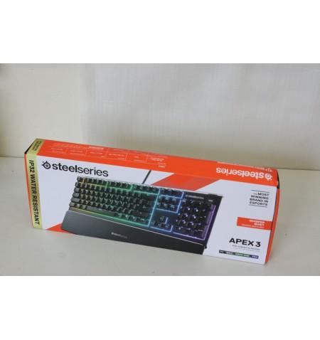 SALE OUT. SteelSeries Apex 3 Gaming Keyboard, RU Layout, Wired, Black SteelSeries DAMAGED PACKAGING