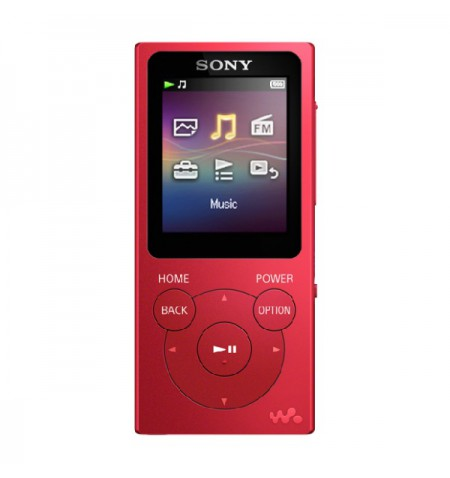 Sony Walkman NW-E394R MP3 Player with FM radio, 8GB, Red
